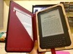 The book-shaped Pad & Quill Kindle case, opened