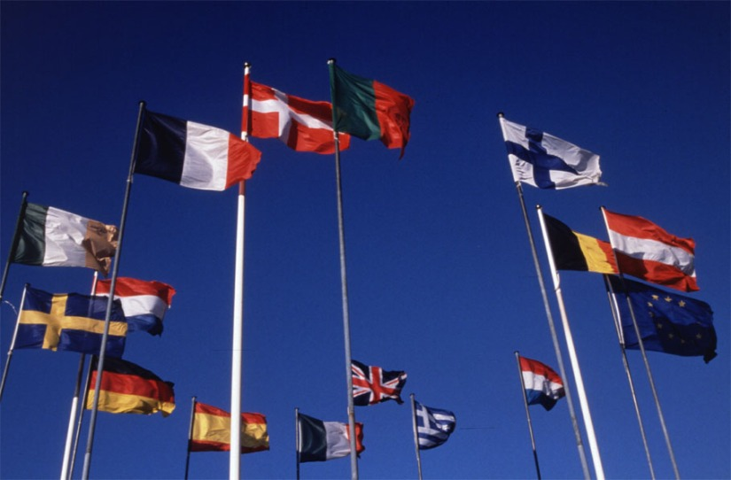 Flags of several members of the European Union