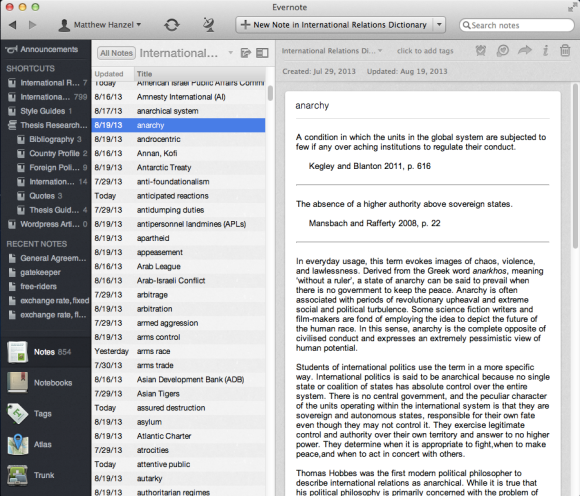 A screenshot of Evernote, showing the glossary I'm making