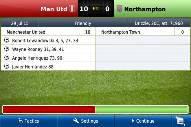A screenshot from Football Manager 13 for iOS, playing with Manchester United.