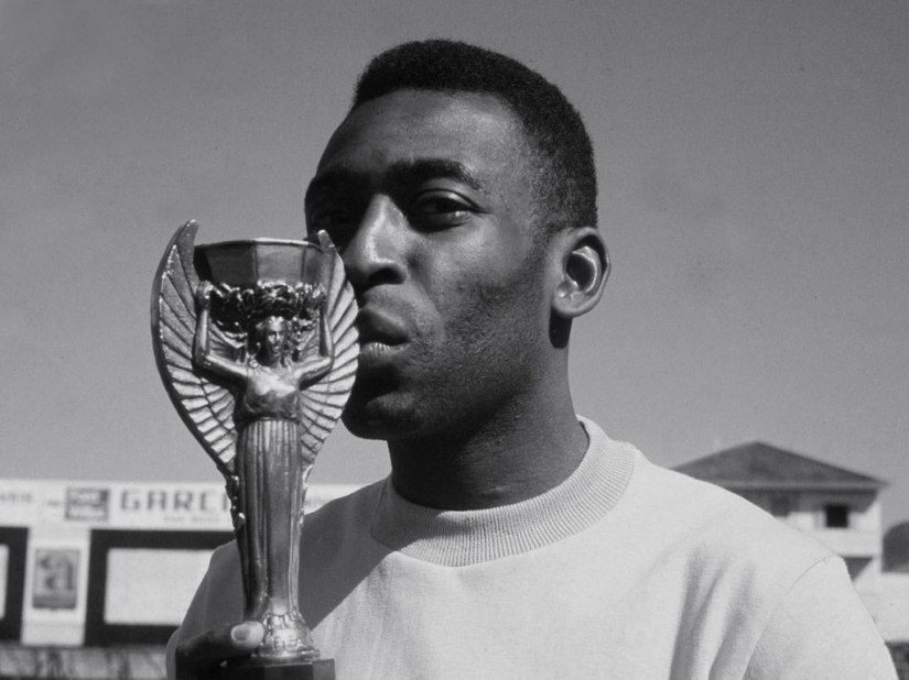 Pelé with the Jules Rimet Trophy