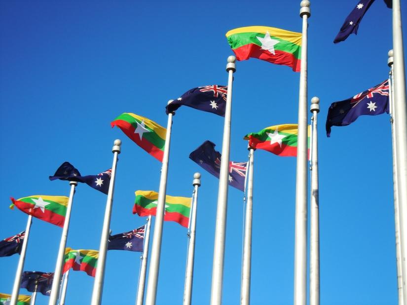 Flags of Myanmar and Australia (ANU)