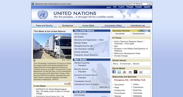 Halaman utama situs resmi Perserikatan Bangsa-bangsa (PBB)