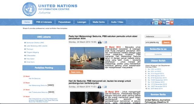 Halaman utama situs Pusat Informasi Perserikatan Bangsa-bangsa (UNIC) Jakarta, di mana terdapat berbagai informasi dan berita dari PBB yang diterjemahkan dalam bahasa setempat.